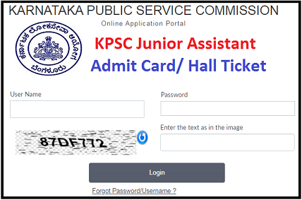 KPSC Junior Assistant Admit Card 2020