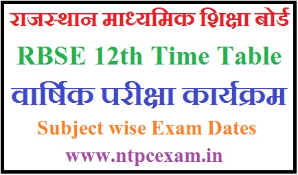 Rajasthan Board 12th Time Table 2021