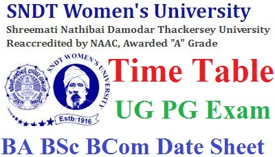 SNDT University Time Table 2021