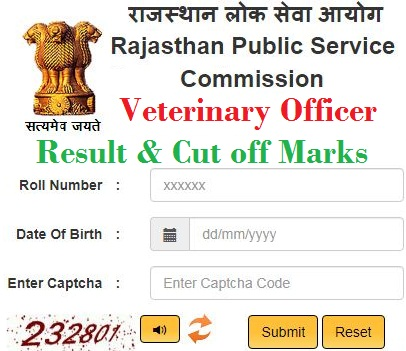 RPSC Veterinary Officer Cut off Marks 2020