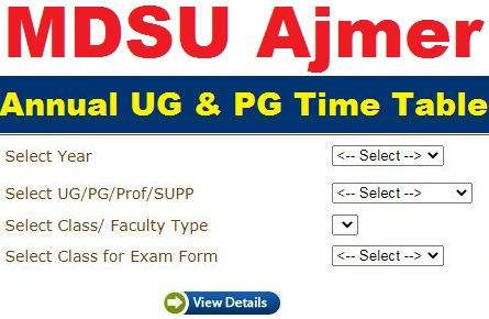 MDSU Exam Time Table 2021