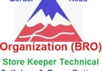 BRO Store Keeper Technical Syllabus 2021
